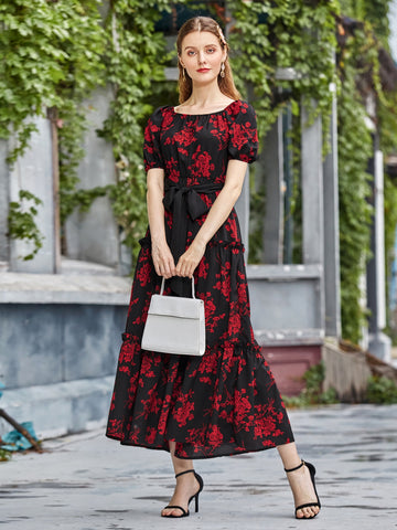 Square Neck Allover Floral Belted Dress