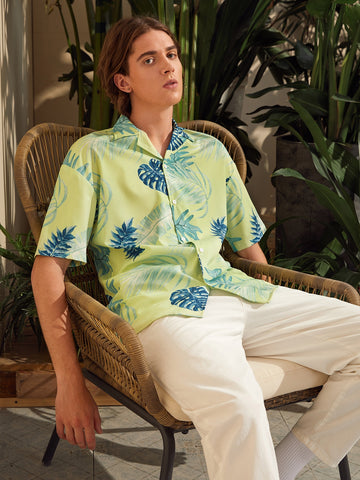 Men Tropical Print Revere Collar Shirt