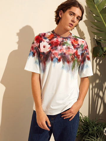 Men Floral Melting Print Tee