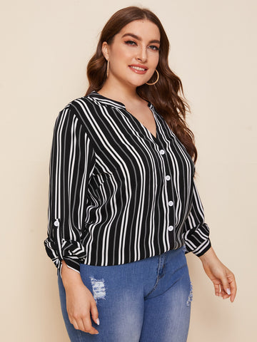 Plus Notch Neck Rolled Tab Sleeve Striped Blouse