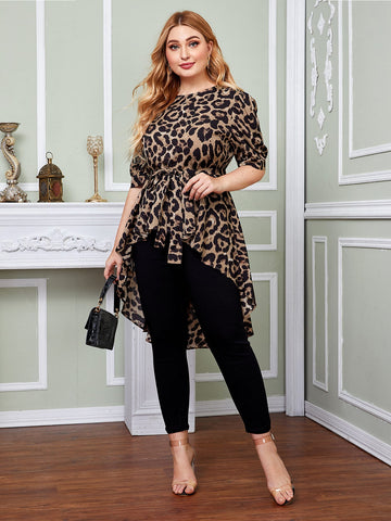 Plus High Low Hem Belted Leopard Top