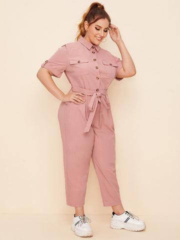 Plus Collared Roll Up Sleeve Buttoned Pocket Front Jumpsuit