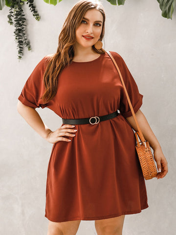 Plus Rolled Cuff Tunic Dress With Belt