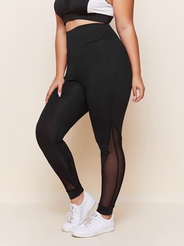 Plus Mesh Panel Wide Waistband Leggings