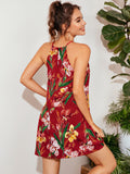 Keyhole Back Botanical Print Halter Dress