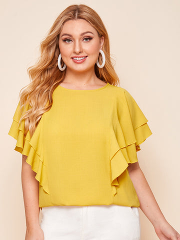 Plus Two Layer Butterfly Sleeve Top