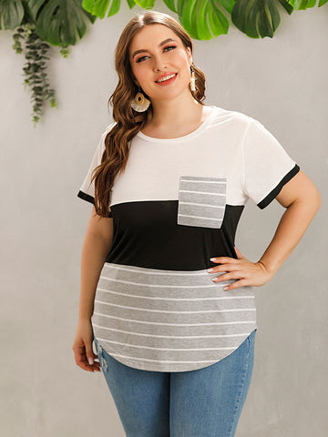 Plus Colorblock Striped Patched Tee