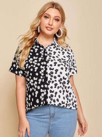 Plus Daisy Floral Button Up Spliced Blouse