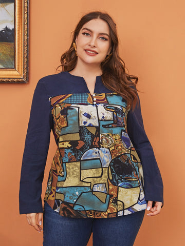 Plus Notch Neck Abstract Painting Print Blouse