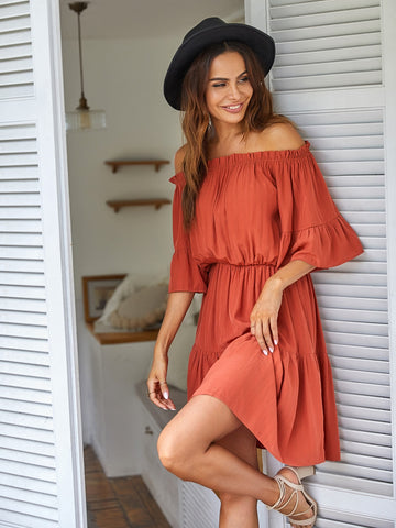 Frill Trim Ruffle Hem Bardot Dress