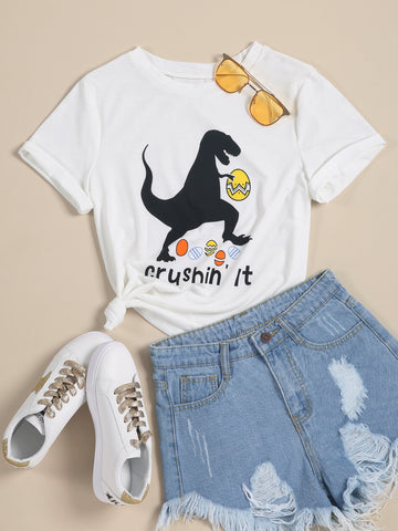 Cartoon Dinosaur And Slogan Print Tee