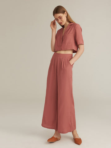 Amy's Cart Premium Notched Collar Single Breasted Blouse & Wide Leg Pants Set