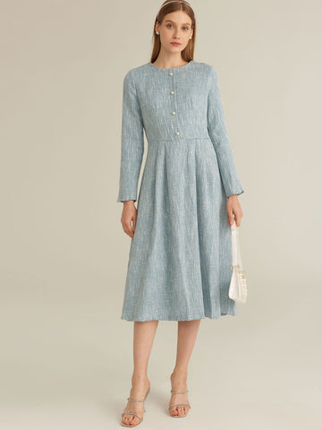Amy's Cart Premium Zip Back Pearl Beaded Tweed A-line Dress