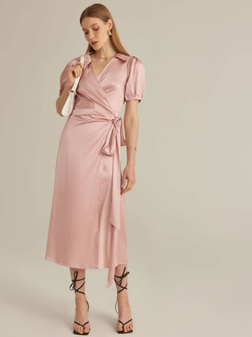 Amy's Cart Premium Puff Sleeve Belted Satin Wrap Dress