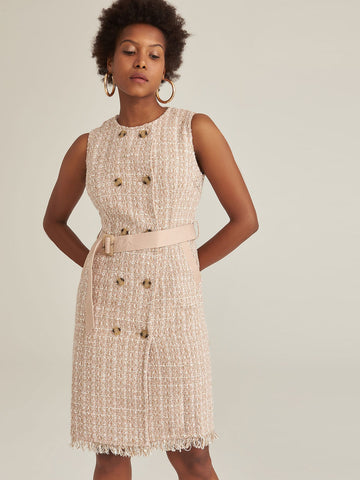 Amy's Cart Premium Double Breasted Belted Tweed Sleeveless Dress
