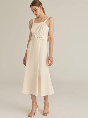 Amy's Cart Premium Buckle Belted Solid Godet Dress