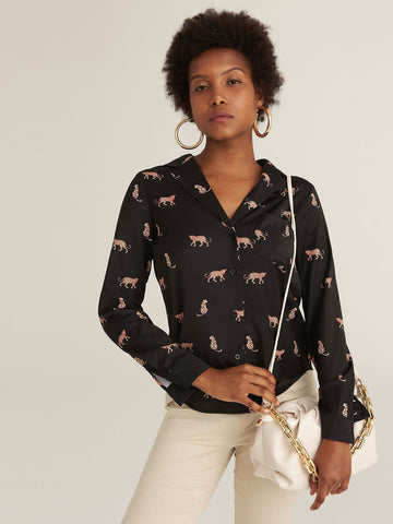 Notched Collar Patch Pocket Animal Print Blouse