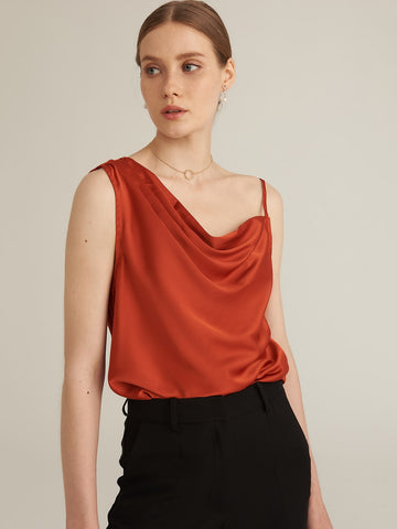 Amy's Cart Premium Asymmetrical Neck Satin Top