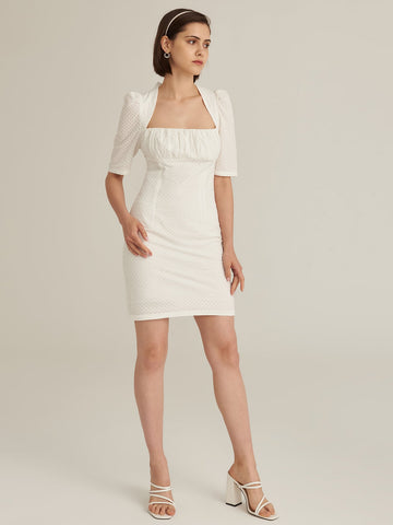 Amy's Cart Premium Cutout Tie Back Split Hem Ruched Bust Schiffy Dress