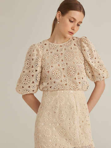 Amy's Cart Premium Puff Sleeve Crochet Top