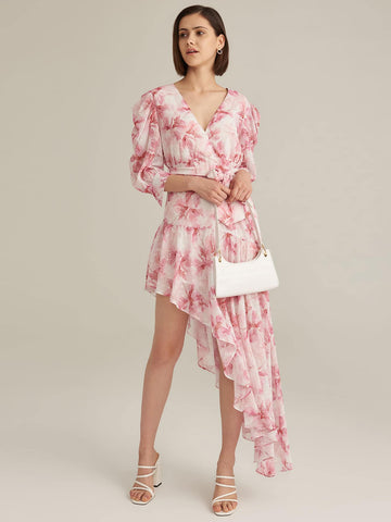 Amy's Cart Premium Surplice Neck Gathered Sleeve Asymmetrical Hem Belted Dress