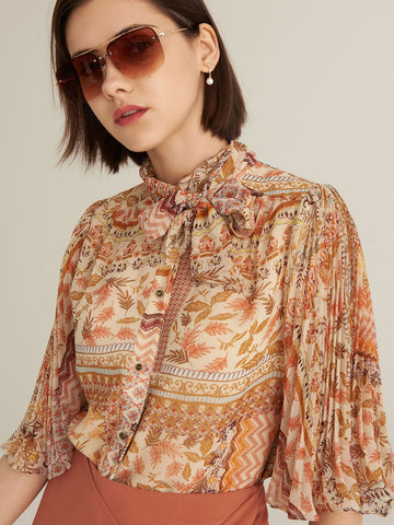 Amy's Cart Premium Tie Neck Pleated Sleeve Patchwork Chiffon Blouse