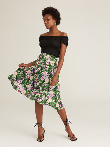 Amy's Cart Premium Button Front Fold Pleated Panel Asymmetrical Floral Skirt
