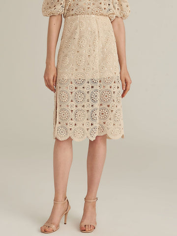 Amy's Cart Premium Zipper Side Split Hem Crochet Skirt