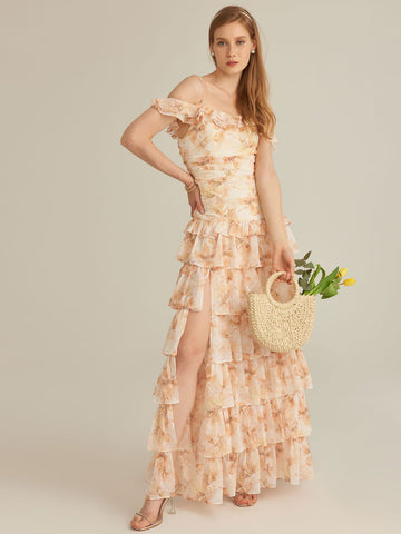 Amy's Cart Premium Cold Shoulder Ruched Detail Layered Ruffle Hem Floral Chiffon Dress