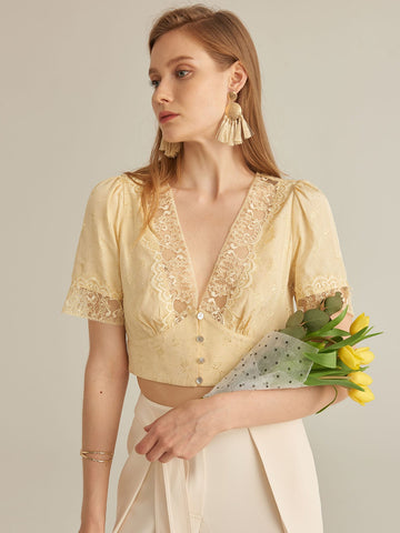 Amy's Cart Premium V-neck Lace Detail Jacquard Crop Top