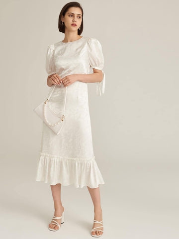 Amy's Cart Premium Knot Puff Sleeve Ruffle Hem Jacquard Dress