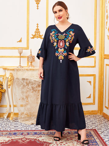 Plus Flounce Sleeve Embroidery Front Flippy Hem Dress