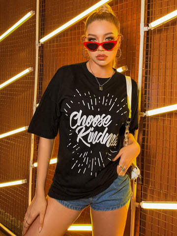 Slogan Graphic Drop Shoulder Oversized Tee