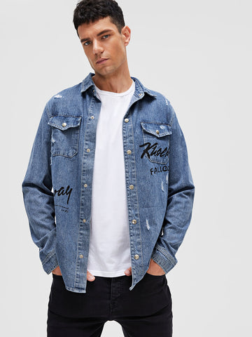 Men Letter Graphic Ripped Denim Shirt