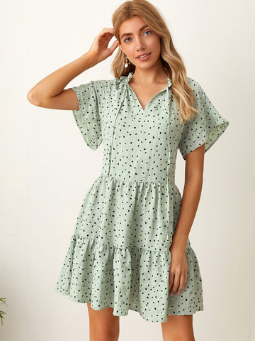 Frill Tie Neck Raglan Sleeve Dalmatian Smock Dress