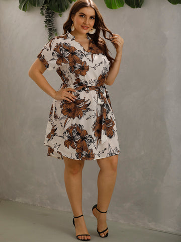 Plus Floral Print Notch Neck Belted Dress
