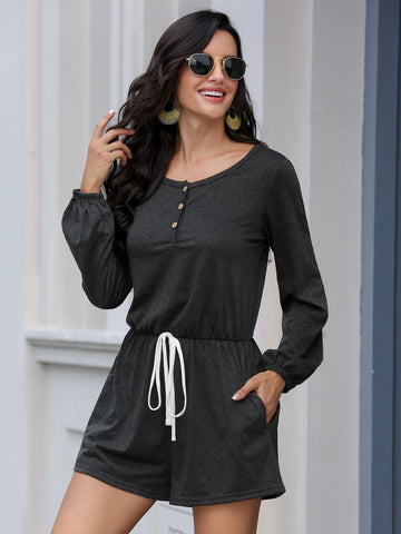 Knot Front Button Front Tee Romper