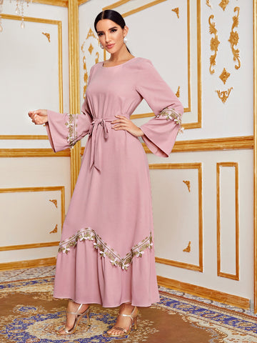 Appliques Bell Sleeve Self Tie Maxi Dress