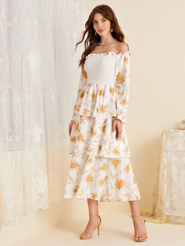 Leaf Print Shirred Bardot Layered Dress