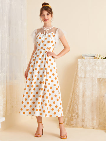 Polka Dot Print Mesh Sleeve Dress