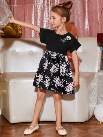 Toddler Girls Floral Print Bow Front Smock Dress