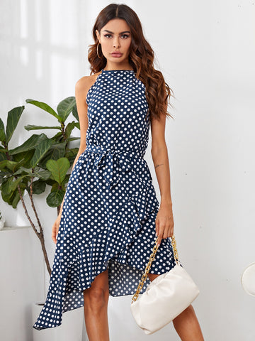 Polka-dot Print Asymmetrical Hem Belted Dress