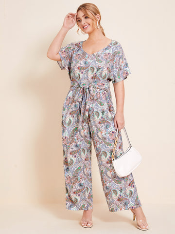 Plus Batwing Sleeve Belted Paisley Print Jumpsuit