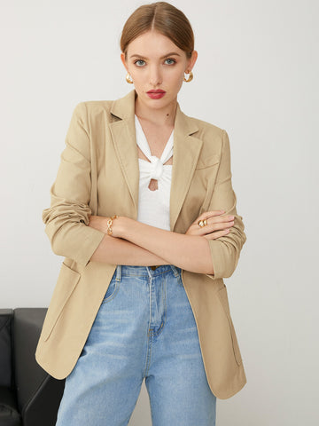 Notch Neck Pocket Front Split Back Blazer
