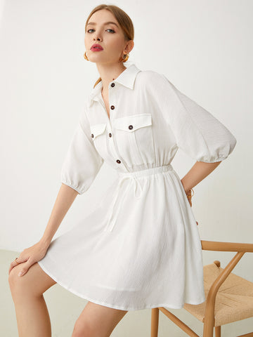 Batwing Sleeve Elastic Waist Flap Pocket Shirt Dress