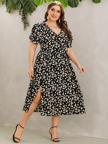 Plus Allover Floral Print Ruffle Trim Split Dress