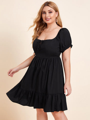 Plus Puff Sleeve Ruffle Hem Milkmaid Dress