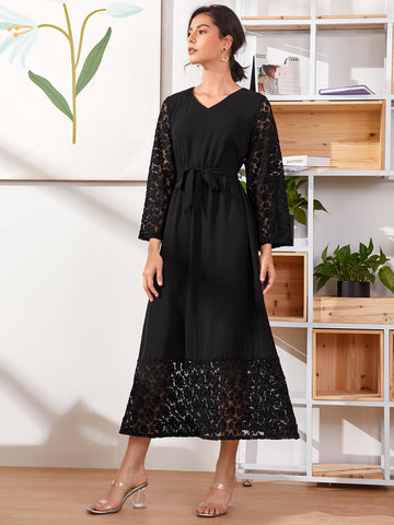 Contrast Lace Belted Chiffon Dress