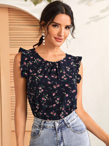 Ruffle Armhole Floral Top