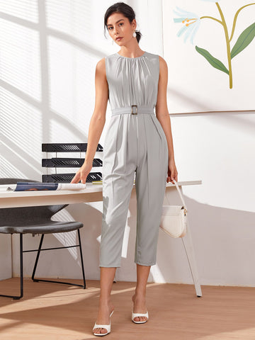 Square Buckle Sleeveless Capris Jumpsuit